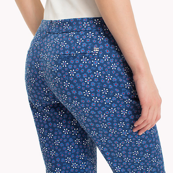 TOMMY HILFIGER Printed Ankle Slit Trousers - MINI LEAF PRT / FIESTA - TOMMY HILFIGER Women - detail image 3