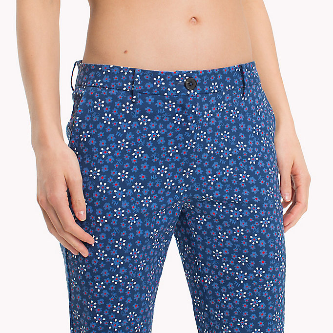 TOMMY HILFIGER Printed Ankle Slit Trousers - MINI LEAF PRT / FIESTA - TOMMY HILFIGER Women - detail image 4