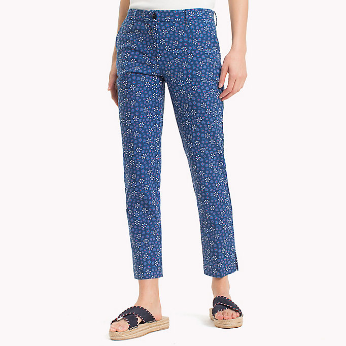 TOMMY HILFIGER Printed Ankle Slit Trousers - MINI LEAF PRT / FIESTA - TOMMY HILFIGER Women - main image