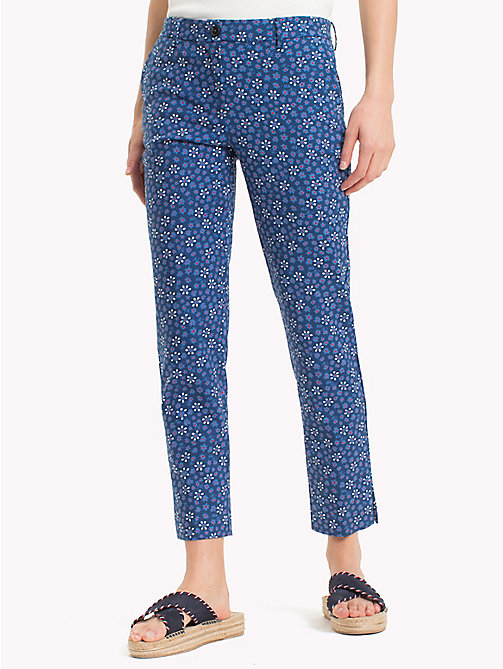 TOMMY HILFIGER Printed Ankle Slit Trousers - DITSY FLORAL / SKY CAPTAIN - TOMMY HILFIGER Trousers - main image