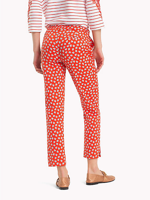 TOMMY HILFIGER Printed Ankle Slit Trousers - MINI LEAF PRT / FIESTA - TOMMY HILFIGER Cropped Trousers - detail image 1