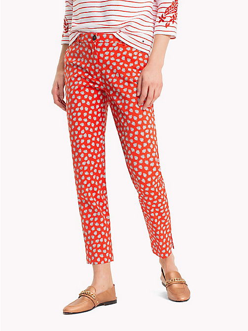 TOMMY HILFIGER Printed Ankle Slit Trousers - MINI LEAF PRT / FIESTA - TOMMY HILFIGER NEW IN - main image
