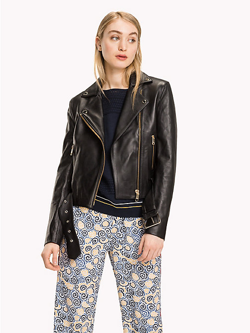 TOMMY HILFIGER Leather Biker Jacket - BLACK BEAUTY - TOMMY HILFIGER Leather Jackets - main image