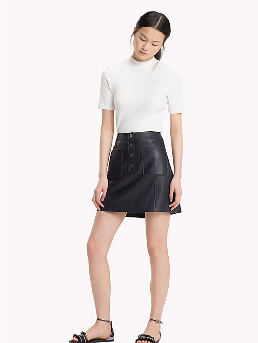 TOMMY HILFIGER Buttoned Leather Skirt - MIDNIGHT - TOMMY HILFIGER Skirts - main image