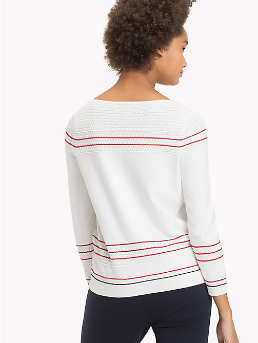 TOMMY HILFIGER Textured Fitted Jumper - SNOW WHITE - TOMMY HILFIGER Jumpers - detail image 1