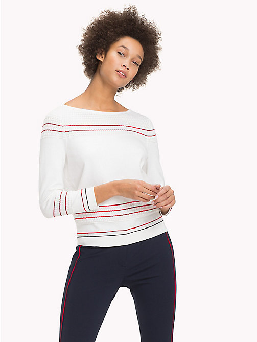 TOMMY HILFIGER Textured Fitted Jumper - SNOW WHITE - TOMMY HILFIGER Jumpers - main image