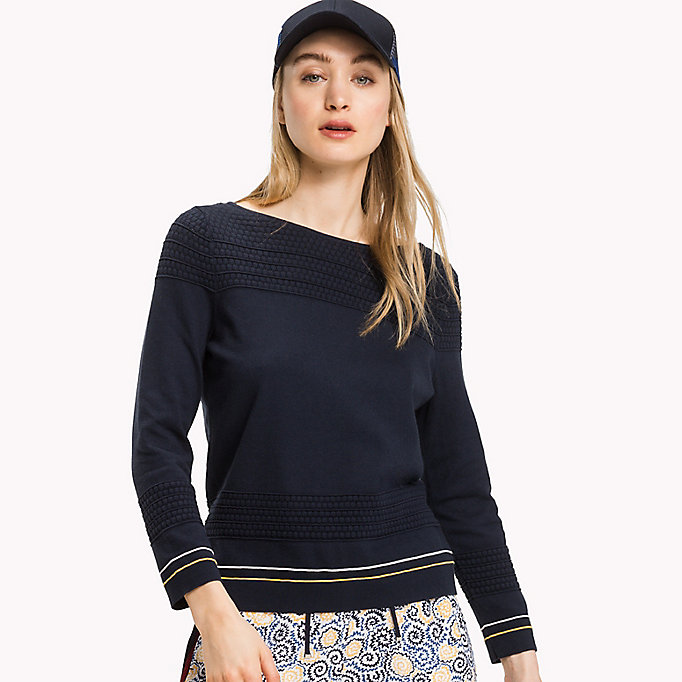 TOMMY HILFIGER Textured Fitted Jumper - BLACK BEAUTY - TOMMY HILFIGER Women - detail image 2