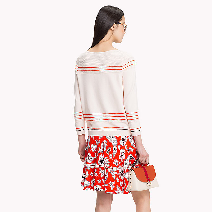 TOMMY HILFIGER Textured Fitted Jumper - SNOW WHITE - TOMMY HILFIGER Women - detail image 1