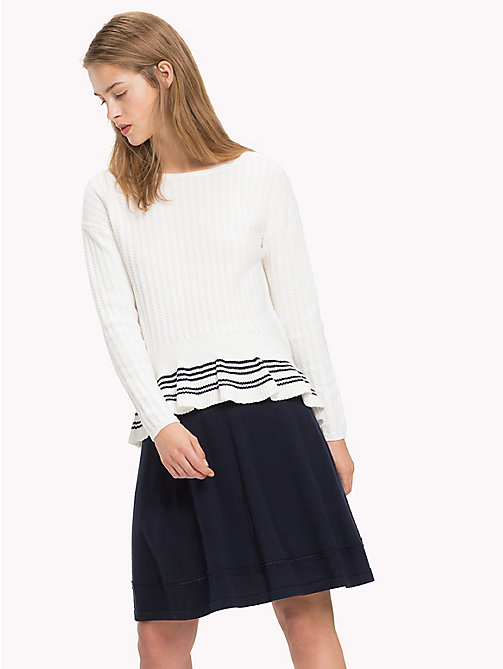 TOMMY HILFIGER Organic Cotton Ruffle Hem Jumper - SNOW WHITE - TOMMY HILFIGER VACATION FOR HER - main image