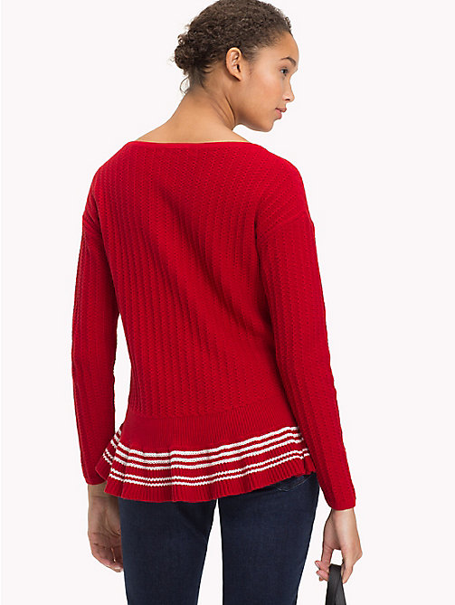 TOMMY HILFIGER Organic Cotton Ruffle Hem Jumper - POMPEIAN RED - TOMMY HILFIGER VACATION FOR HER - detail image 1