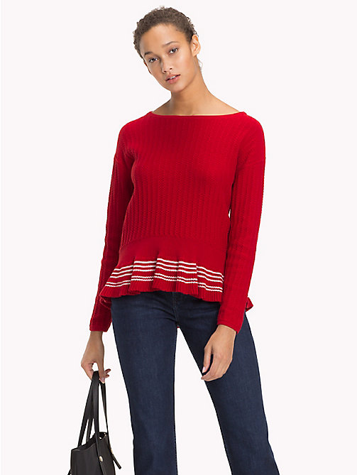 TOMMY HILFIGER Organic Cotton Ruffle Hem Jumper - POMPEIAN RED - TOMMY HILFIGER VACATION FOR HER - main image