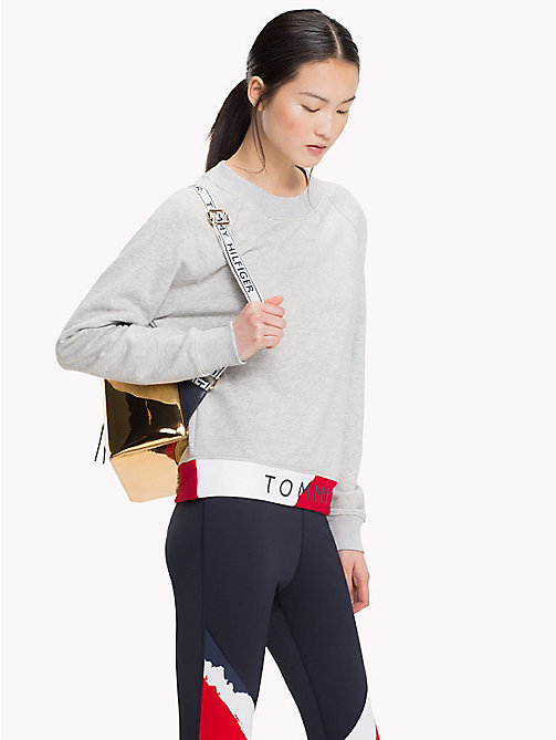TOMMY HILFIGER Colour-Blocked Logo Jumper - LIGHT GREY HTR - TOMMY HILFIGER Athleisure - main image