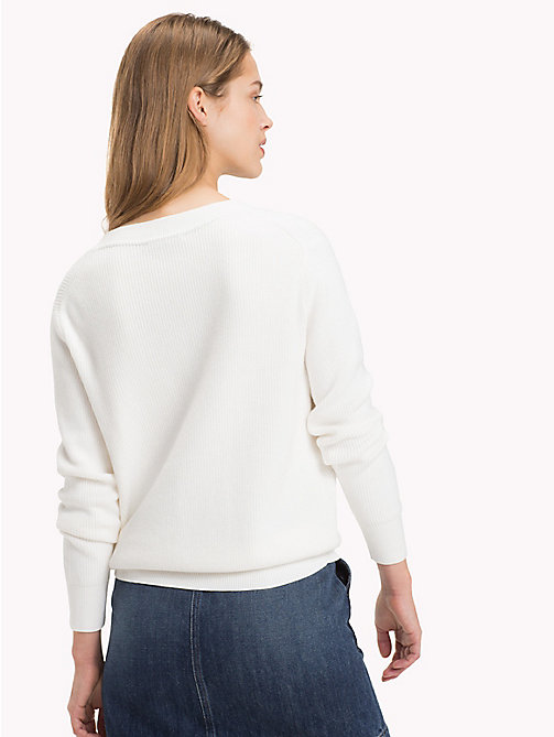 TOMMY HILFIGER Pull long en coton bio - SNOW WHITE - TOMMY HILFIGER Sustainable Evolution - image détaillée 1
