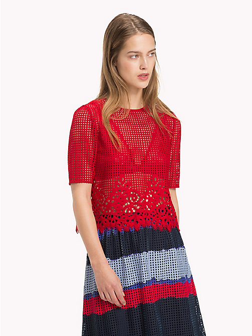 TOMMY HILFIGER Entredeux Lace Top - POMPEIAN RED - TOMMY HILFIGER Occasion wear - main image