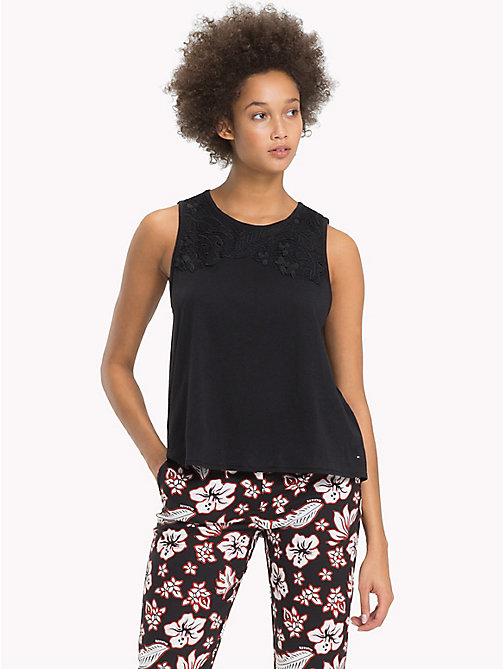TOMMY HILFIGER Embellished Regular Fit Top - BLACK BEAUTY - TOMMY HILFIGER Tops - main image