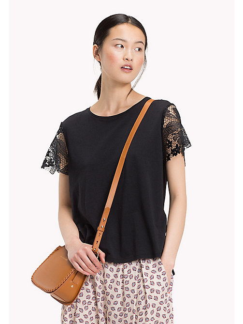 TOMMY HILFIGER Lace Comfort Fit T-Shirt - BLACK BEAUTY -  Tops - main image