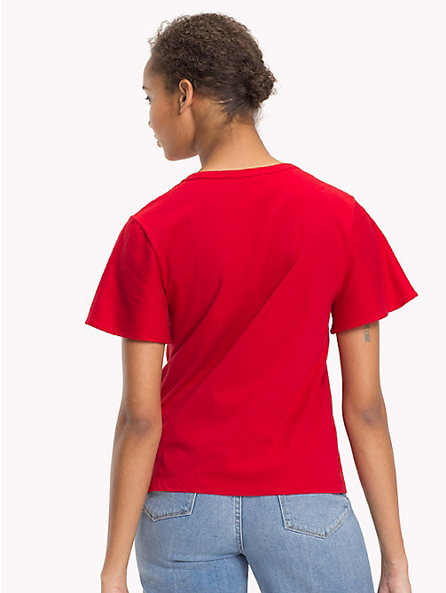 TOMMY HILFIGER Organic Cotton Crew Neck T-Shirt - POMPEIAN RED - TOMMY HILFIGER Sustainable Evolution - detail image 1