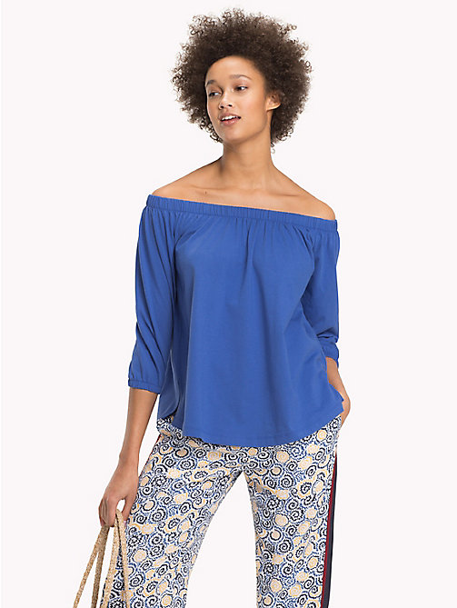 TOMMY HILFIGER Cotton Off-The-Shoulder Top - BRIGHT COBALT - TOMMY HILFIGER NEW IN - main image