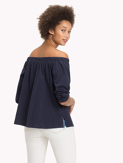 TOMMY HILFIGER Cotton Off-The-Shoulder Top - MIDNIGHT - TOMMY HILFIGER NEW IN - detail image 1