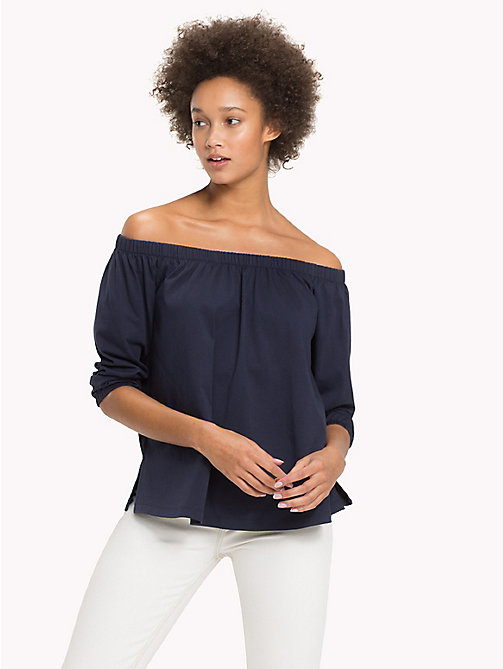 TOMMY HILFIGER Cotton Off-The-Shoulder Top - MIDNIGHT - TOMMY HILFIGER NEW IN - main image