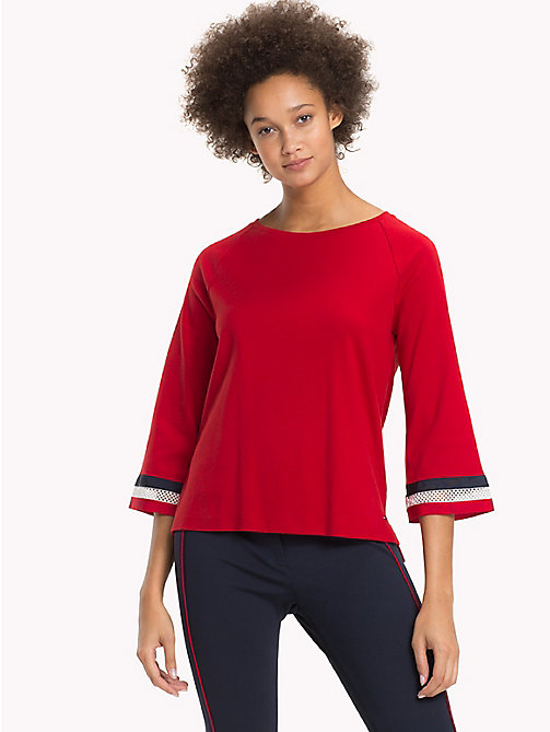 TOMMY HILFIGER Signature Lace Cuff Top - POMPEIAN RED - TOMMY HILFIGER Tops - main image