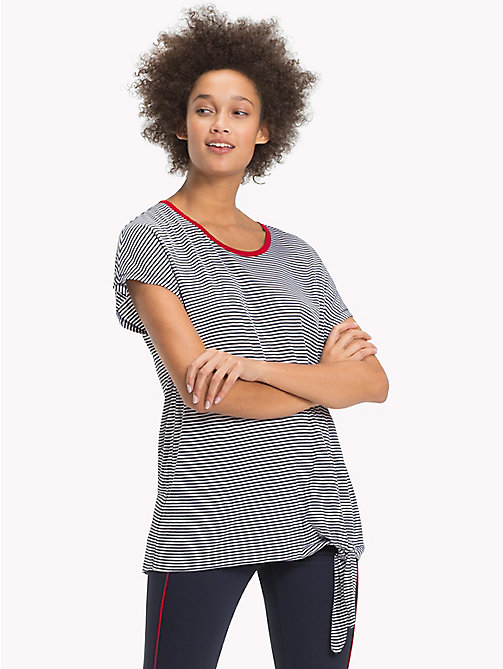 TOMMY HILFIGER Side Tie Stripe T-Shirt - CLASSIC WHITE / MIDNIGHT STP - TOMMY HILFIGER VACATION FOR HER - main image