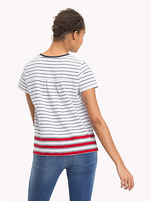 TOMMY HILFIGER T-shirt met all-overstreep - CL. WHITE / MIDNIGHT / POMPEIAN RED STP - TOMMY HILFIGER VAKANTIE VOOR HAAR - detail image 1