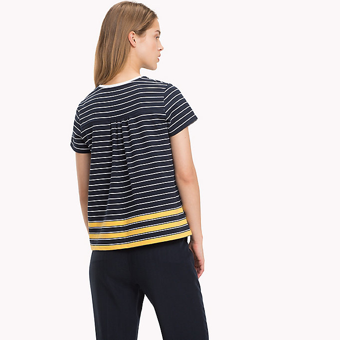 TOMMY HILFIGER All Over Stripe T-Shirt - CL. WHITE / MIDNIGHT / POMPEIAN RED STP - TOMMY HILFIGER Women - detail image 1