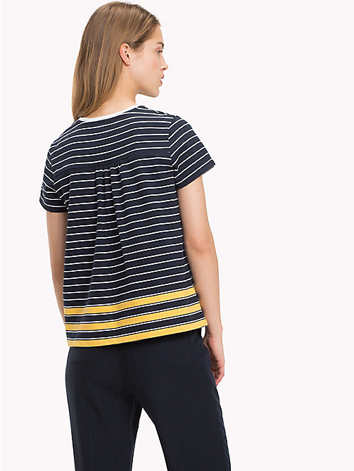 TOMMY HILFIGER All Over Stripe T-Shirt - MIDNIGHT / CLASSIC WHITE / SAMOAN SUN ST - TOMMY HILFIGER T-Shirts - detail image 1