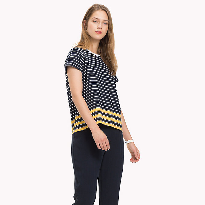 TOMMY HILFIGER All Over Stripe T-Shirt - CL. WHITE / MIDNIGHT / POMPEIAN RED STP - TOMMY HILFIGER Women - main image