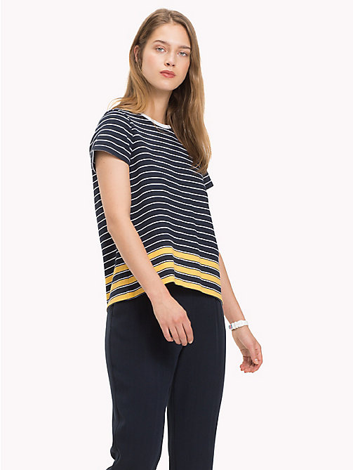 TOMMY HILFIGER All Over Stripe T-Shirt - MIDNIGHT / CLASSIC WHITE / SAMOAN SUN ST - TOMMY HILFIGER T-Shirts - main image