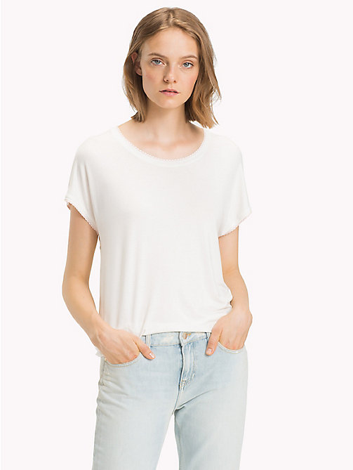 TOMMY HILFIGER Scallop Scoop Neck T-Shirt - SNOW WHITE - TOMMY HILFIGER Tops - main image