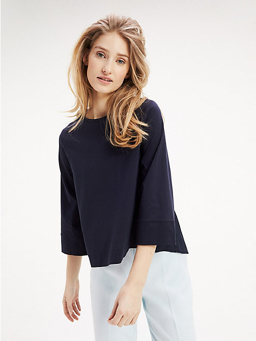 TOMMY HILFIGER Pleated Back Cotton Top - MIDNIGHT - TOMMY HILFIGER Tops - main image