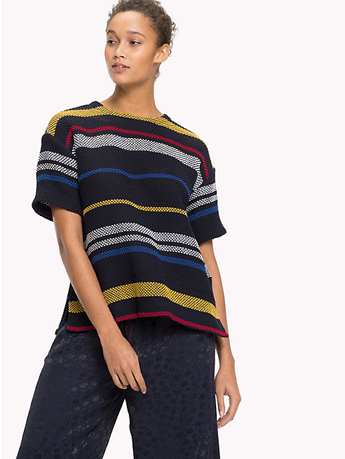 TOMMY HILFIGER Stripe Grenadine Top - ETHNIC STP / SKY CAPTAIN - TOMMY HILFIGER Tops - main image