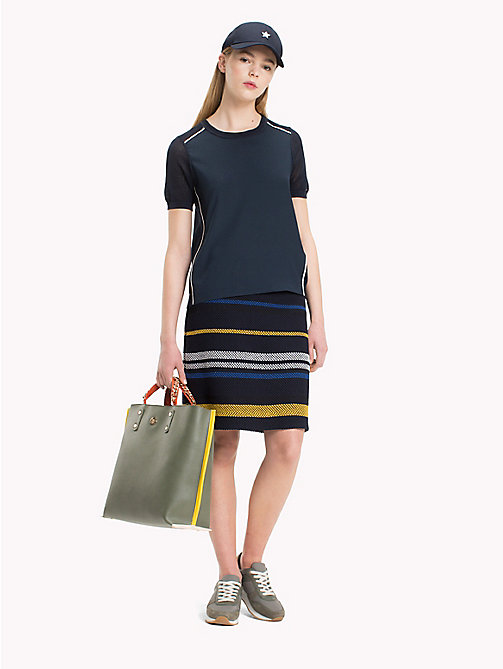 TOMMY HILFIGER Mixed Stripe Grenadine Skirt - ETHNIC STP / SKY CAPTAIN - TOMMY HILFIGER Skirts - main image