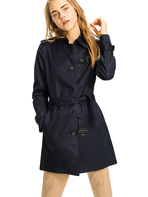 TOMMY HILFIGER Single-breasted trenchcoat - MIDNIGHT - TOMMY HILFIGER Jassen - main image