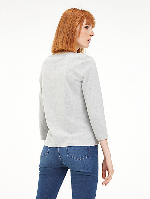 TOMMY HILFIGER Regular Fit Top mit U-Boot-Ausschnitt - LIGHT GREY HTR - TOMMY HILFIGER TOMMY JEANS DAMEN - main image 1