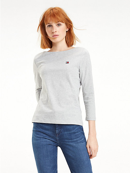 TOMMY HILFIGER Regular Fit Boat Neck Top - LIGHT GREY HTR - TOMMY HILFIGER TOMMY JEANS WOMEN - main image