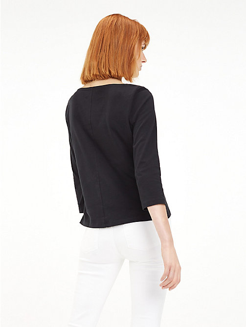 TOMMY HILFIGER Regular Fit Boat Neck Top - BLACK BEAUTY - TOMMY HILFIGER TOMMY JEANS WOMEN - detail image 1