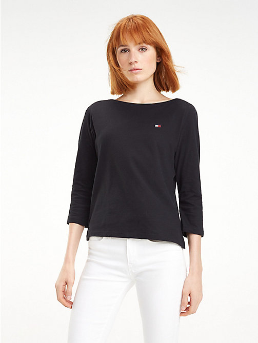 TOMMY HILFIGER Regular Fit Boat Neck Top - BLACK BEAUTY - TOMMY HILFIGER TOMMY JEANS WOMEN - main image
