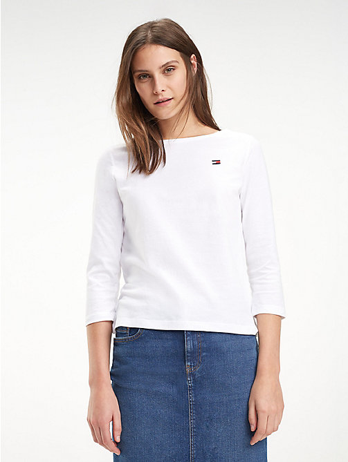 TOMMY HILFIGER Regular Fit Boat Neck Top - CLASSIC WHITE - TOMMY HILFIGER T-Shirts - main image