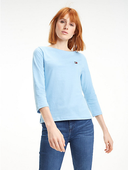 TOMMY HILFIGER Regular Fit Boat Neck Top - DUSK BLUE - TOMMY HILFIGER Tops - main image