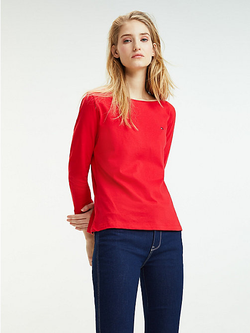 TOMMY HILFIGER Regular Fit Top mit U-Boot-Ausschnitt - TRUE RED - TOMMY HILFIGER T-Shirts - main image