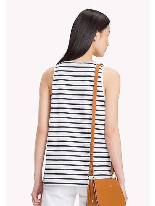 TOMMY HILFIGER Round Neck Stripe Tank - CLASSIC WHITE / BLACK BEAUTY STP - TOMMY HILFIGER Tops - detail image 1