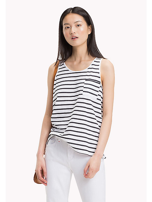 TOMMY HILFIGER Round Neck Stripe Tank - CLASSIC WHITE / BLACK BEAUTY STP - TOMMY HILFIGER Tops - main image