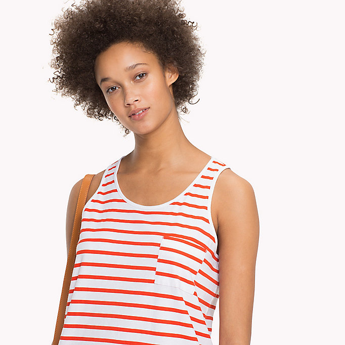 TOMMY HILFIGER Round Neck Stripe Tank - CLASSIC WHITE / BLACK BEAUTY STP - TOMMY HILFIGER Women - detail image 2
