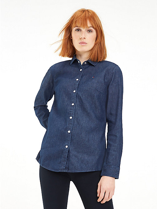 TOMMY HILFIGER Dark Wash Denim Shirt - EMMA - TOMMY HILFIGER Shirts - main image