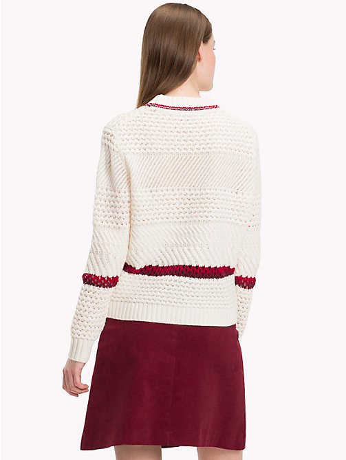 TOMMY HILFIGER Relaxed Fit Lamb's Wool Jumper - SNOW WHITE - TOMMY HILFIGER Winter Warmers - detail image 1