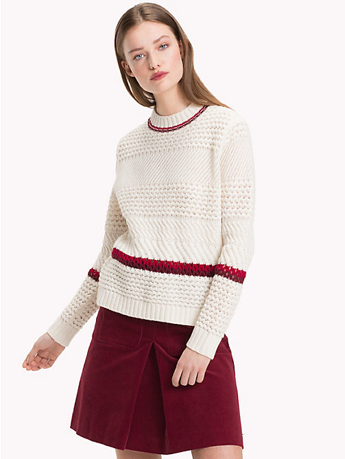 TOMMY HILFIGER Relaxed Fit Lamb's Wool Jumper - SNOW WHITE - TOMMY HILFIGER Winter Warmers - main image
