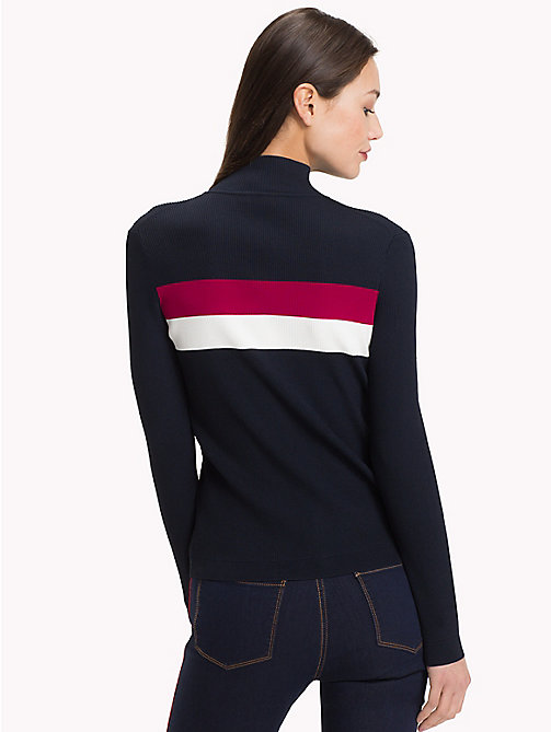 TOMMY HILFIGER Mock Neck Rib-Knit Jumper - MIDNIGHT - TOMMY HILFIGER Jumpers - detail image 1